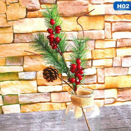 KABOER Christmas Tree Red Fruit Berry Holly Pine Cone Pine Tree Artificial Flower Bouquet Pick Home Decor Diy Christmas Decor Ornament Gift Wedding Decor Usable