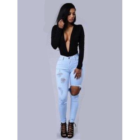 Women Fashion Denim Pencil Pants Girls Slim Boyfriend Ripped Jeans