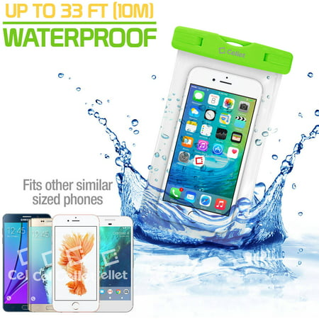 Cellet Universal IPX8 Waterproof Case for Apple iPhone 7 Plus, 6S Plus, Samsung Galaxy S7 edge, Large Smartphones, Digital Cameras, MP3 Players and More, Green - Lime Green Mp3 Cases
