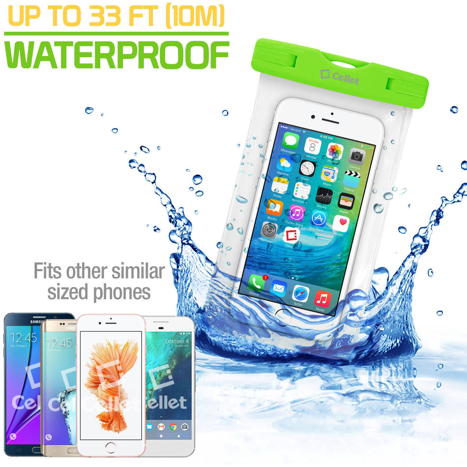 Cellet Universal IPX8 Waterproof Case for Apple iPhone 7 Plus, 6S Plus, Samsung Galaxy S7 edge, Large Smartphones, Digital Cameras, MP3 Players and More, Green