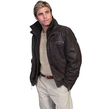 Men's Scully Leather Jacket w/ Knit Front & Collar 400 (400 Leather)
