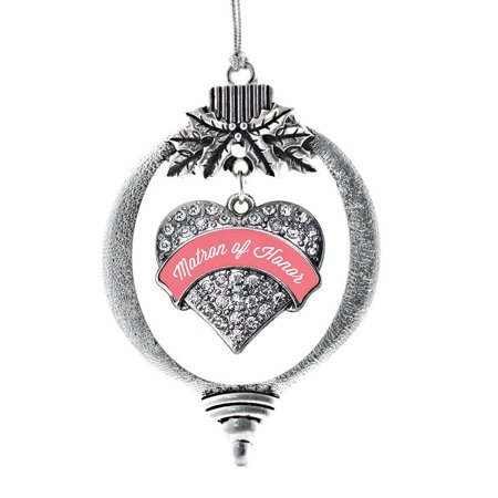 Coral Matron of Honor Pave Heart Holiday Ornament