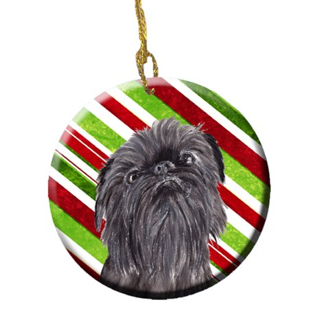 Brussels Griffon Candy Cane Christmas Ceramic Ornament SC9615CO1