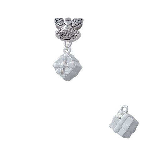 3-D Present Box with Bow and Crystal - Guardian Angel Charm Bead - Angel And Crystal