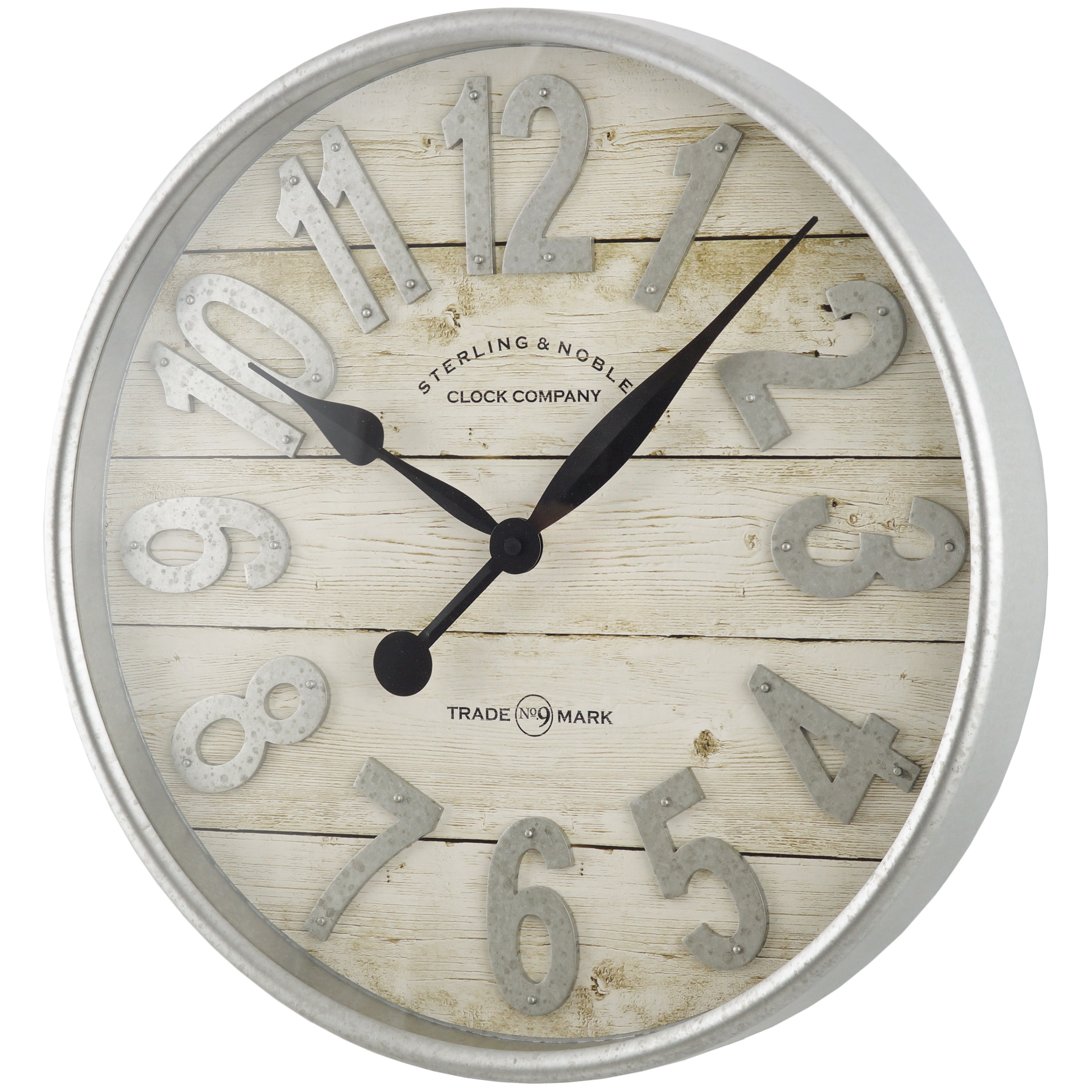 Better Homes Gardens Indoor 20 White And Galvanized Raised Arabic Farmhouse Wall Clock Walmart Com Walmart Com