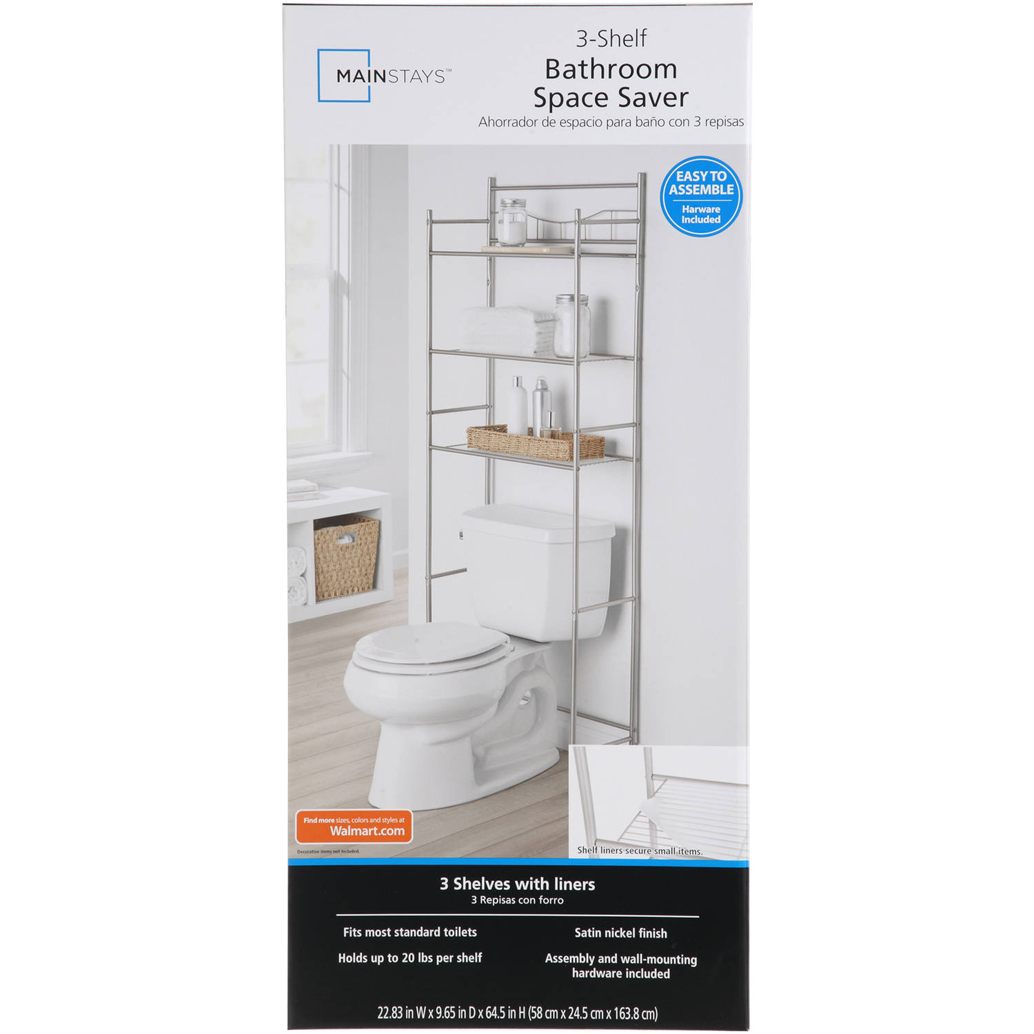 Mainstays 3-Shelf Bathroom Space Saver with Liner, Satin Nickel ...