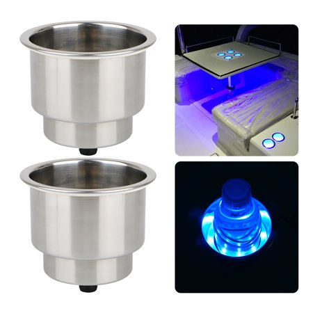 2pcs 12V Blue 8-LED Stainless Steel Cup Drink Holder for Drain Marine Boat RV Camper - Boot Cups