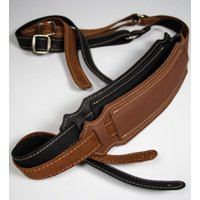 Franklin Strap - Ball Glove Leather Vintage Style Pad - Guitar Strap - Cognac with Natural Stitching