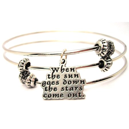 When The Sun Goes Down The Stars Come Out Triple Style Expandable Bangle Bracelet, Fits 7.5