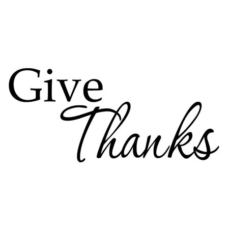 VWAQ Give Thanks Decal Wall Art Quote Inspirational Wall Decals Family Faith Words Grace Thanks Quote
