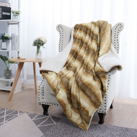Gradient Striped Warm Shaggy Plush Faux Fur Throw Blanket, 50