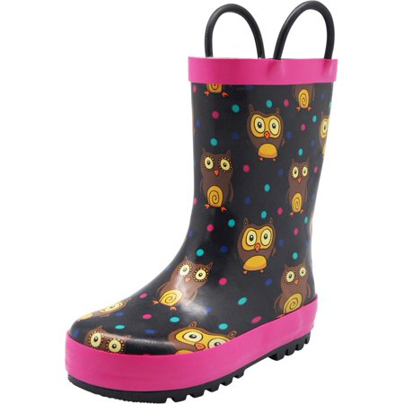Norty Big Kids Boys Girls Waterproof Rubber Printed Rain Boots - 13 Patterns, 40145 Black Owls /