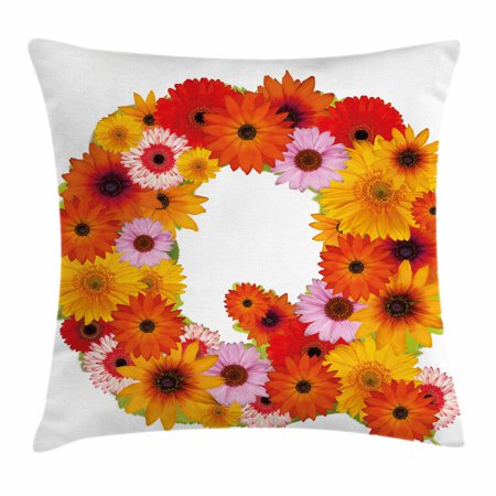Letter Q Throw Pillow Cushion Cover  Floral Capital Q Ornamental Spring Florets Romantic Inspirational Initials Print  Decorative Square Accent Pillow Case  18 X 18 Inches  Multicolor  By Ambesonne