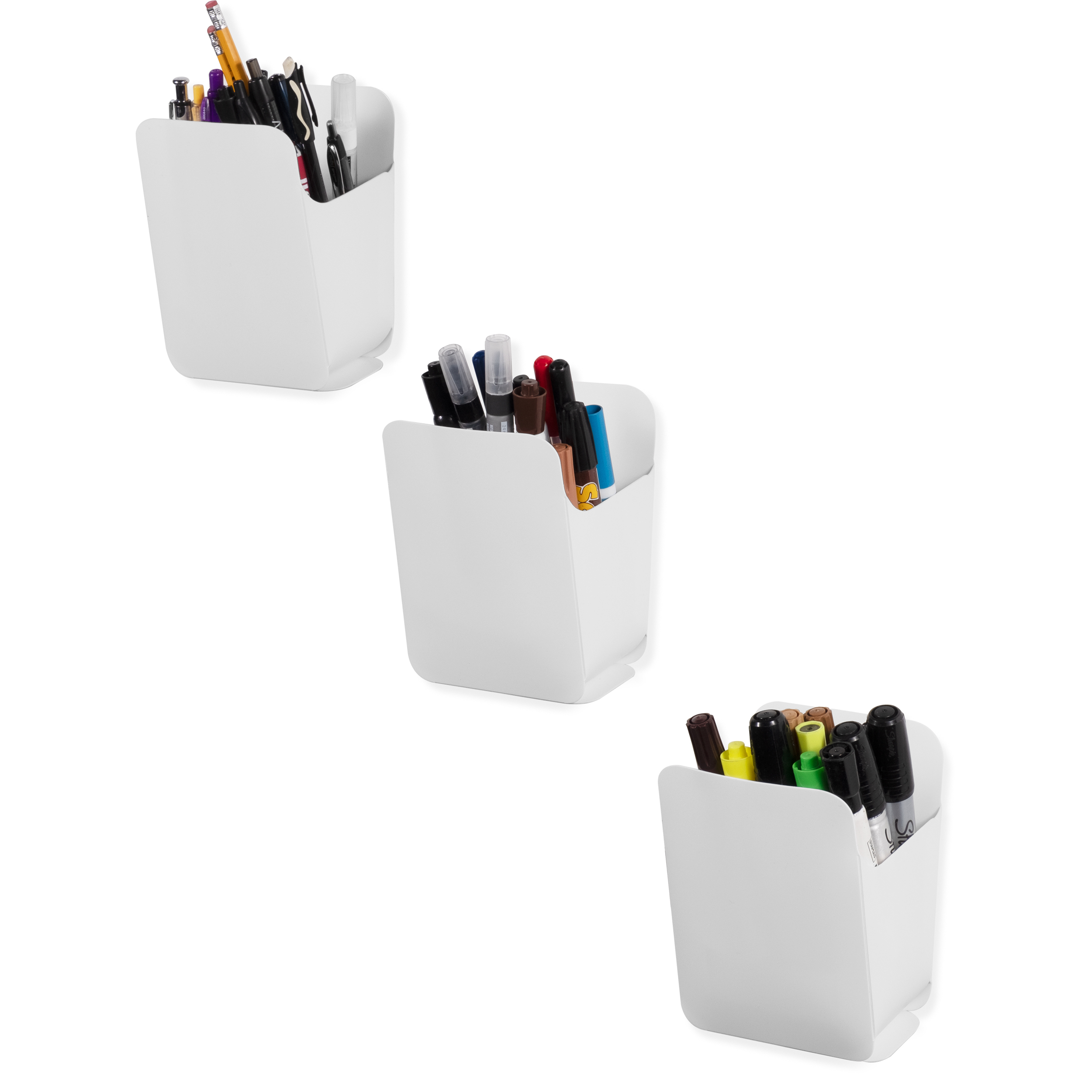 White Assembly Required Set of 3 Wallniture Origami Dry Erase Marker Pen Pencil Holder and Office Organizer Recycled Plastic