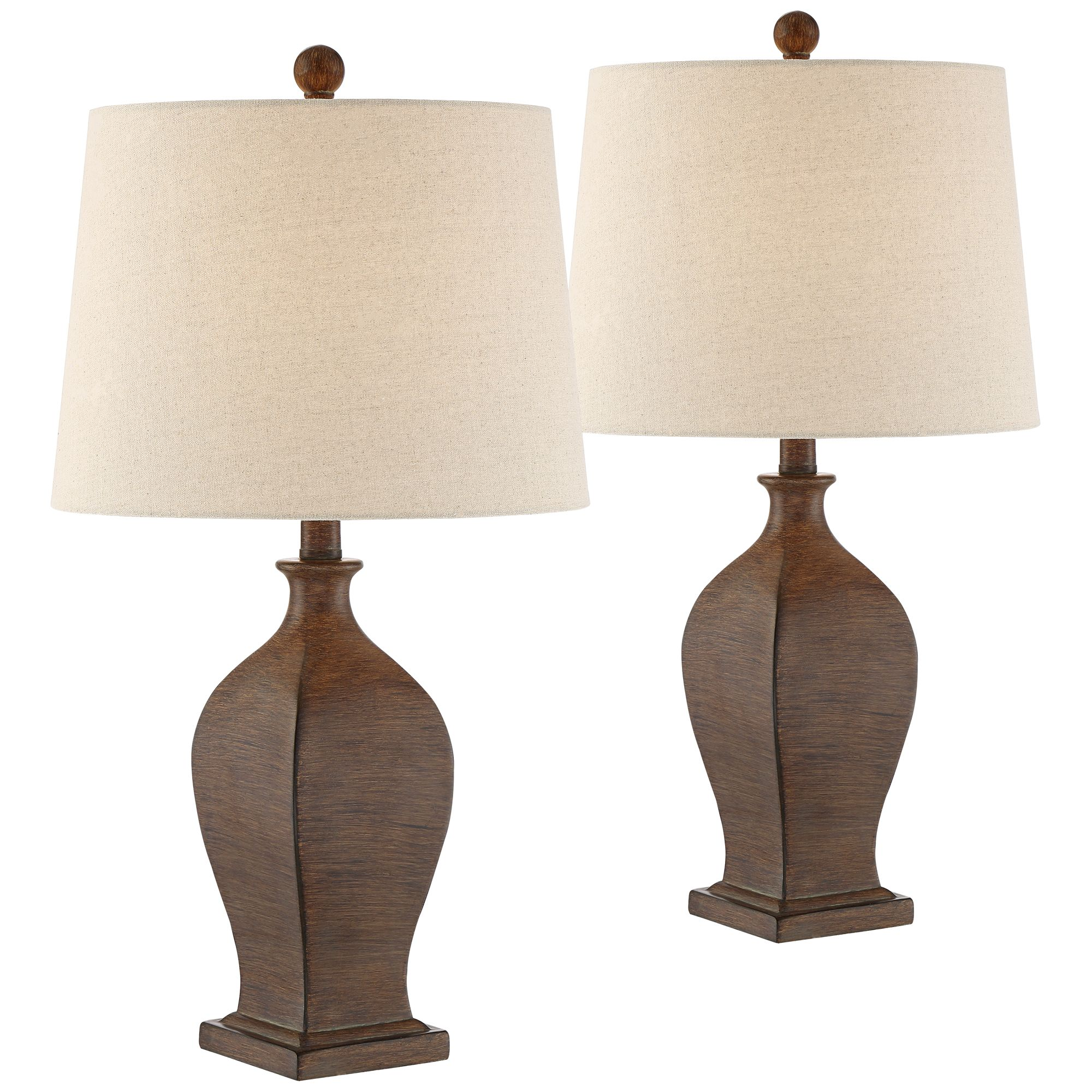 Regency Hill Country Cottage Table Lamps Set of 2 Brown Oatmeal Drum Shade for Living Room Family Bedroom Bedside Nightstand