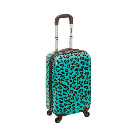"Rockland Sonic 20"" Carry On Spinner Suitcase - Blue Leopard"