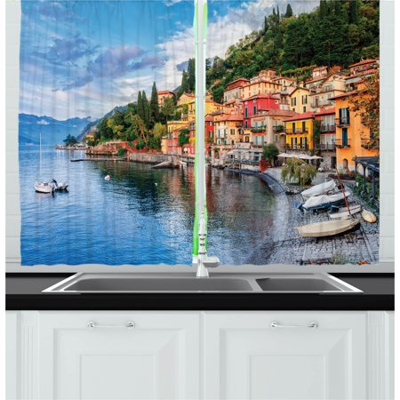 Italian Curtains 2 Panels Set, Summer Village by the Mediterranean Sea with Yacht Boats Idyllic Town Panorama, Window Drapes for Living Room Bedroom, 55W X 39L Inches, Multicolor, by Ambesonne (Two Village Boats)