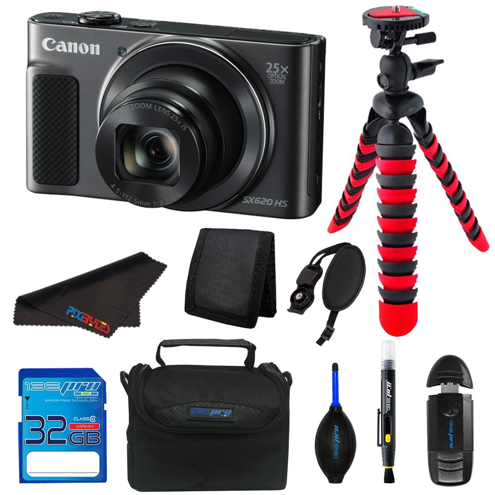 Canon PowerShot SX620 HS Digital Camera (Black) + 32GB SD Card + Tripod + Pixi Elements Bundle Kit