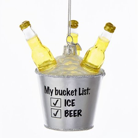 Pack of 8 Gold and Silver Colored Glass Decorative Beer Bucket List Ornaments (Bucket List Glasses)