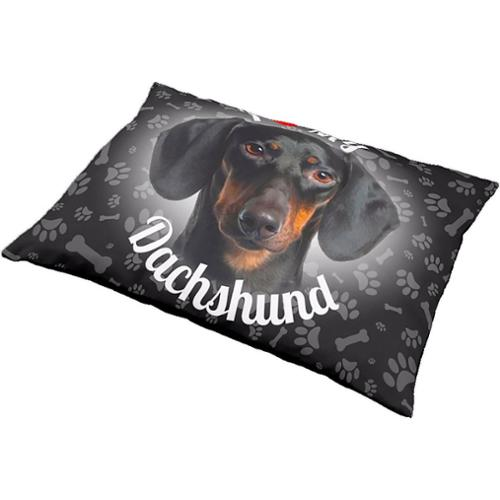 iLeesh I Love My Dachshund Black Pet Bed TURQUOISE