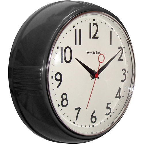 Westclox 32042BK Retro 9.5 Round Kitchen Wall Clock