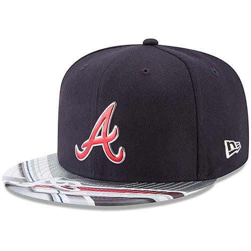 Atlanta Braves New Era 9FIFTY Topps Collaboration Snapback Adjustable Hat - Navy/Gray - OSFA