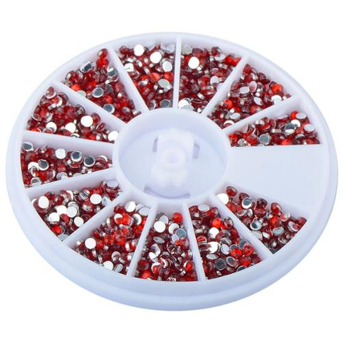 Zodaca Red 1200 Pcs Set 1.5mm Nail 3D Rhinestones Cell Phone Cases Glasses Card Gift Decorate