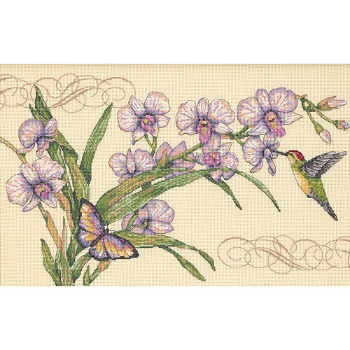 "Dimensions ""Orchids and Hummingbirds"" Counted Cross Stitch Kit, 14"" x 9"""