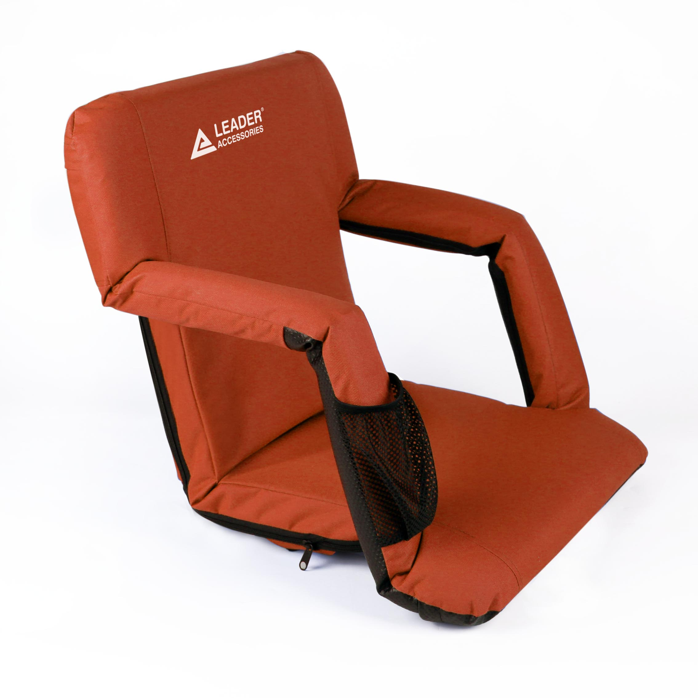 Leader Accessories Stadium Seat Cozy Portable Reclining Seat Folding Bleacher or Benche Chair with Arm rest