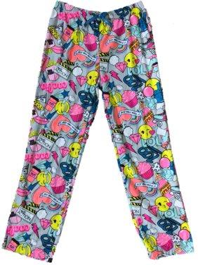 Girls Gray Emoji Rainbow Sleep Pant Cupcake Sticker Style Pajama Bottoms