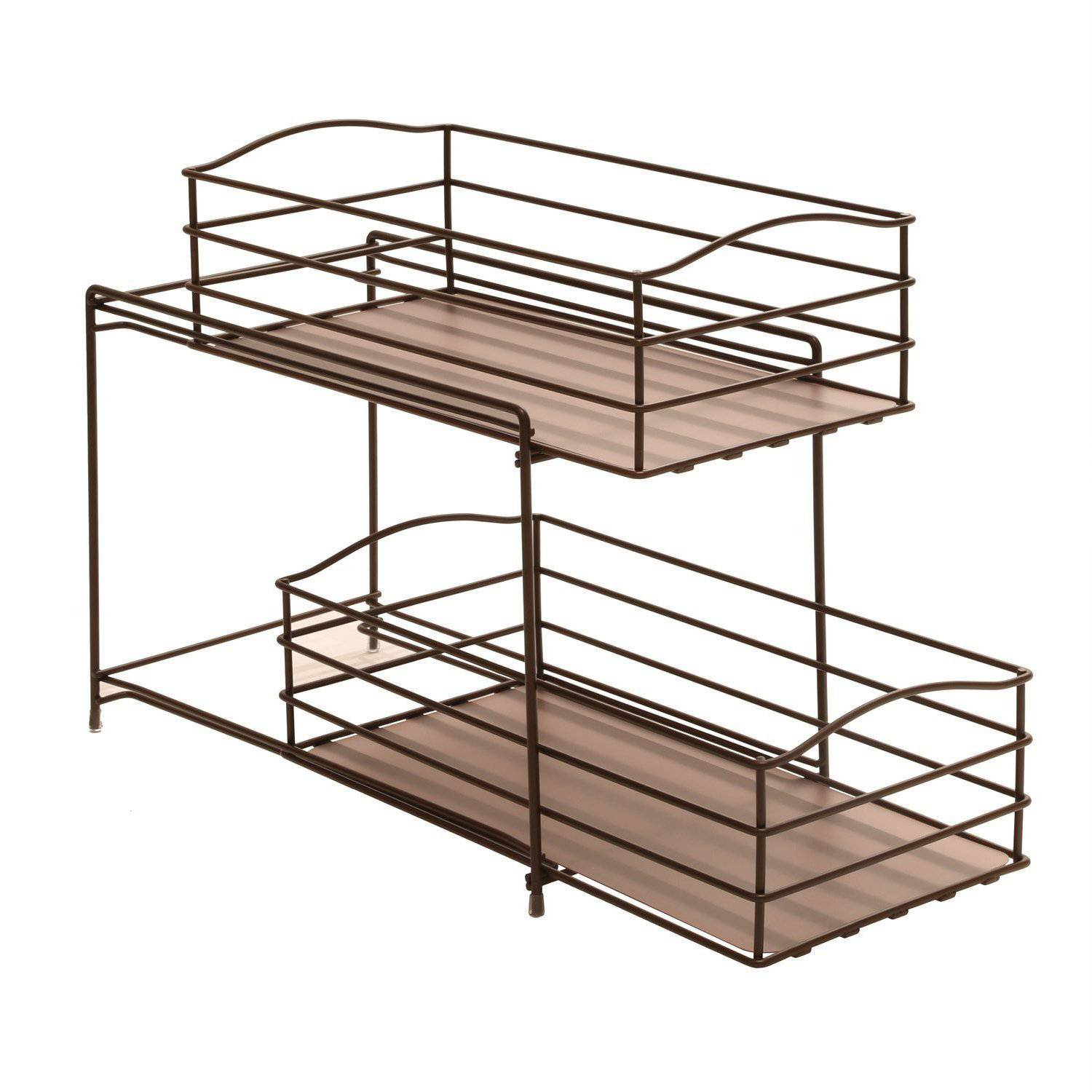 Seville Clics 2 Tier Sliding Basket Kitchen Cabinet Organizer Bronze