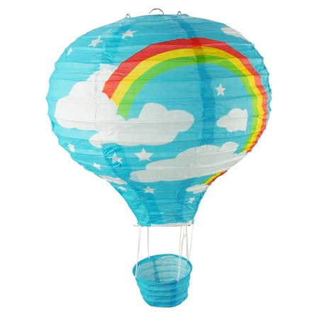 Rainbow Paper Hot Air Balloon Hanging Decor, 15-Inch, Blue