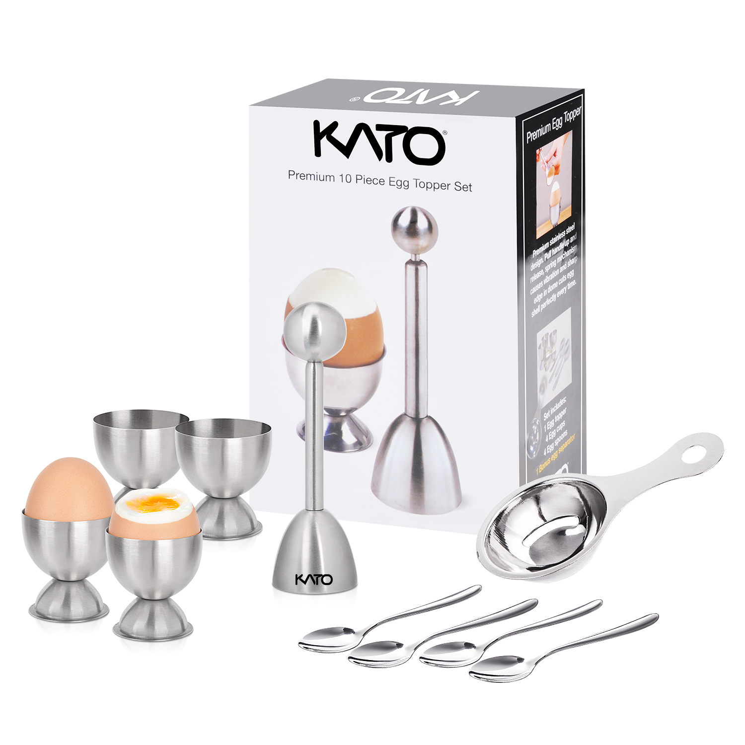 Kato Egg Cracker Topper Set, Hard Soft Boiled Egg Cutter, Include Egg Topper Shell Remover, Egg Cups, Egg Spoons and Egg Separator, 10 Pcs Stainless Steel Tools