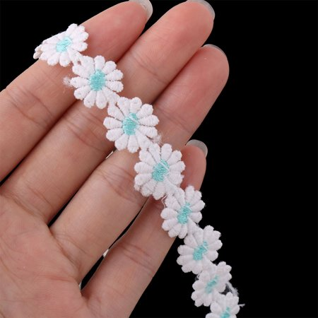 Women Plum Blossom Decoration Elastic Hair Band Hairband Headband White Blue - image 1 de 3