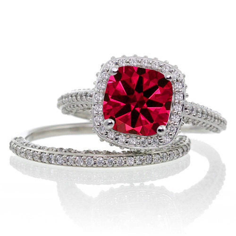 2 5 Carat Cushion Cut Designer Ruby And Diamond Halo Wedding Ring Set On 10k White Gold