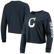 Cleveland Indians New Era Women's Baby Jersey Long Sleeve Cropped T-Shirt - Navy