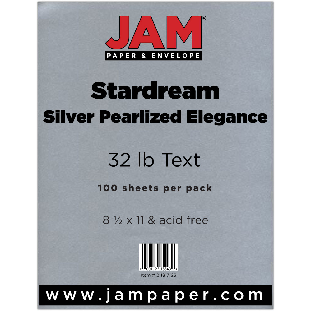 "JAM Paper Metallic Paper, 8.5"" x 11"", 32lb Silver Pearlized Elegance Stardream Metallic, 25 Sheets/pack"