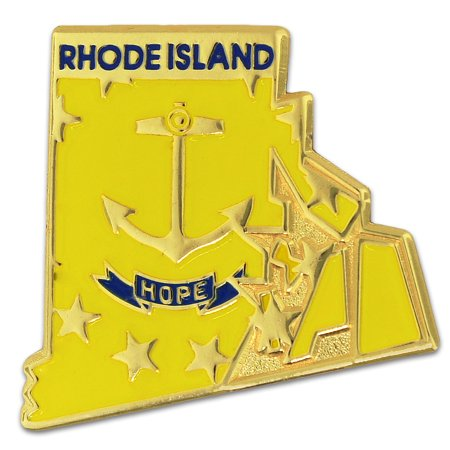 State Shape of Rhode Island and Rhode Island Flag Lapel Pin