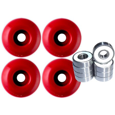 Blank Skateboard Wheels With ABEC 9 Bearings 50mm Red ()