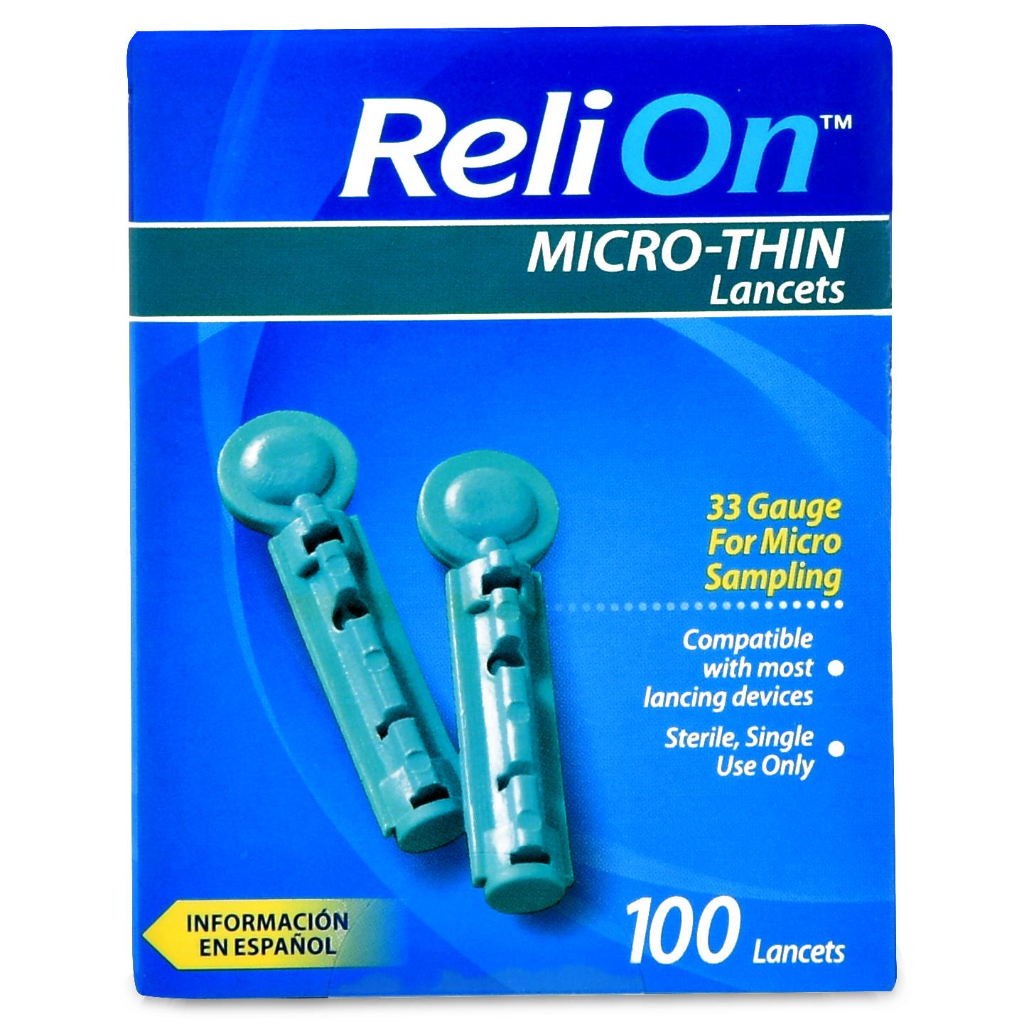 ReliOn 33 Gauge Micro-Thin Lancets, 100 Ct