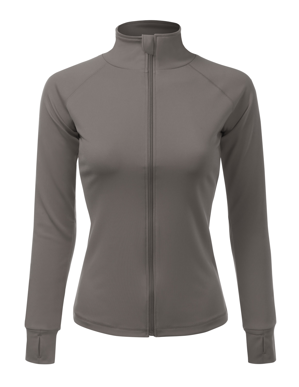 Doublju Women's Active Sports Define Jacket Slim Fit And Cottony-Soft Handfeel BLACK S