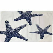 "IDG Nautical Nonsense Blue White Starfish Rug, 22.5"" x 37"""