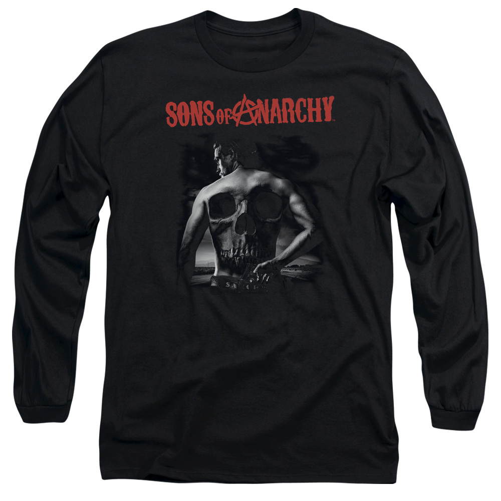 SONS OF ANARCHY/SKULL BACK-L/S ADULT 18/1-BLACK-SM