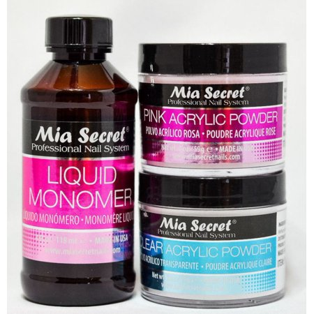 MIA SECRET-LIQUID MONOMER 4 oz & 2 oz CLEAR and PINK Acrylic Powder MADE IN