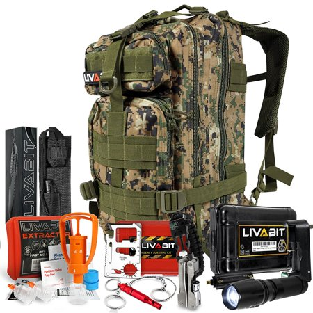 LIVABIT SOS Bug Out 3 Day Backpack Emergency Survival Camping Hunting Hiking Gear Essentials Tan For Preppers Hikers Survivalist (Life Gear Survival Backpack Bug Out Bag)