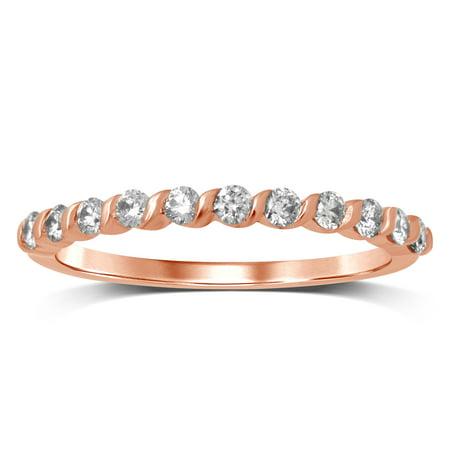 Diamond Jewel 10K Rose Gold 1/3 Cttw White Diamond Channel Set Wedding Band - Ring Size 7