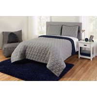 Better Homes & Gardens Kids Grey Reversible Triangle Jersey Quilt Set