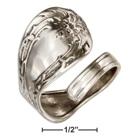 P-020606-08 8 in. Sterling Silver Floral Spoon Ring with Plain Lined Small (Floral Spoon Ring)
