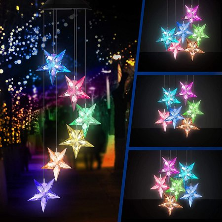 Solar Wind Chime Changing Colors Waterproof Six Star Solar Powered LED Hanging Lamp for Outdoor Garden Party Decoration - image 4 de 8
