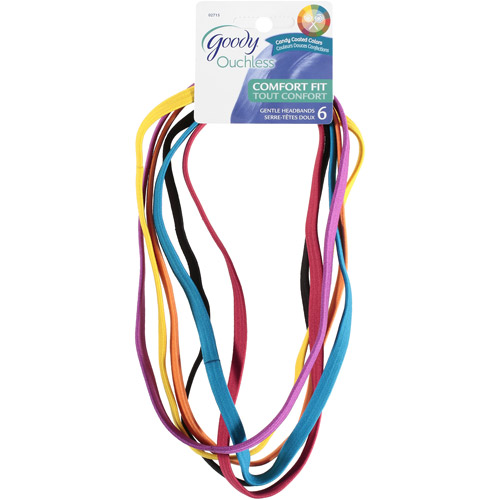Goody Ouchless Comfort-Fit Headbands, Candy Colors, 6 count